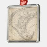 Mapa del vintage de Provincetown (1836) Adorno Navideño Cuadrado De Metal