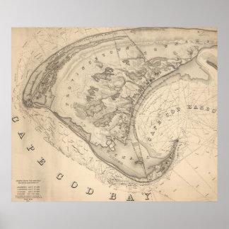 Mapa del vintage de Provincetown (1836) Póster