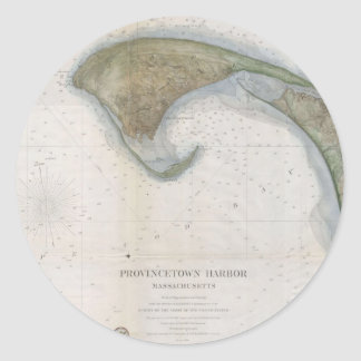 Mapa del vintage de Provincetown Pegatina Redonda