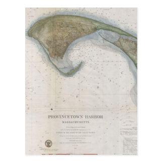 Mapa del vintage de Provincetown Tarjeta Postal