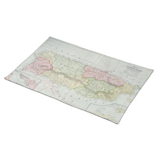 Mapa del vintage de Puerto Rico (1901) Mantel Individual