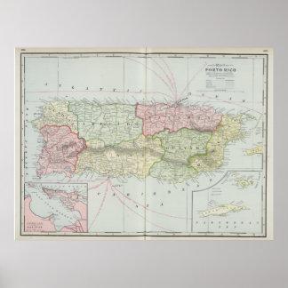 Mapa del vintage de Puerto Rico (1901) Póster