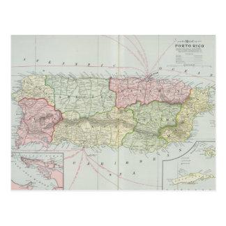 Mapa del vintage de Puerto Rico (1901) Tarjetas Postales