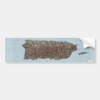 Mapa del vintage de Puerto Rico 1952 Etiqueta De Parachoque