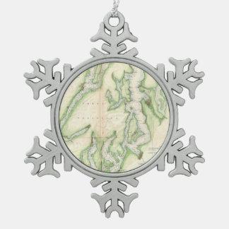 Mapa del vintage de Puget Sound (1867) Adorno