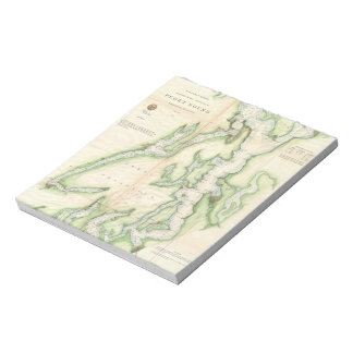 Mapa del vintage de Puget Sound (1867) Blocs De Papel