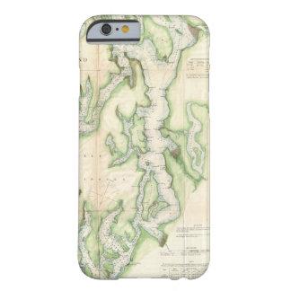 Mapa del vintage de Puget Sound (1867) Funda De iPhone 6 Barely There