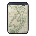 Mapa del vintage de Puget Sound (1867) Funda MacBook