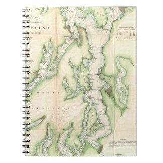 Mapa del vintage de Puget Sound (1867) Libro De Apuntes