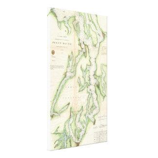 Mapa del vintage de Puget Sound (1867) Impresión En Lienzo Estirada