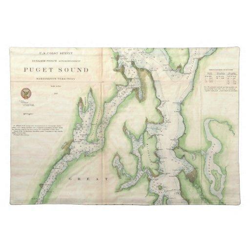 Mapa del vintage de Puget Sound (1867) Mantel Individual