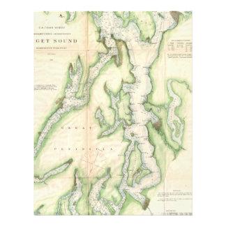 Mapa del vintage de Puget Sound (1867) Membrete A Diseño