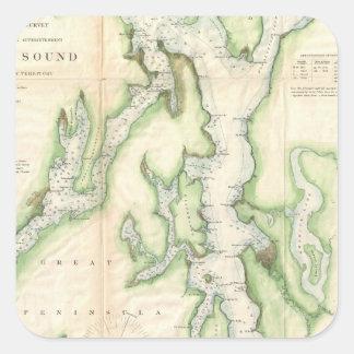 Mapa del vintage de Puget Sound (1867) Colcomanias Cuadradas Personalizadas