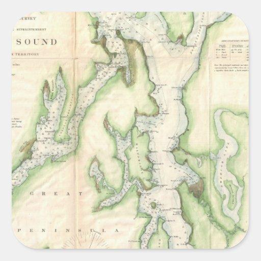 Mapa del vintage de Puget Sound (1867) Pegatina Cuadrada