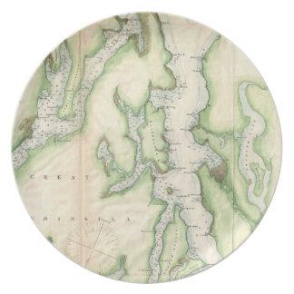 Mapa del vintage de Puget Sound (1867) Platos Para Fiestas