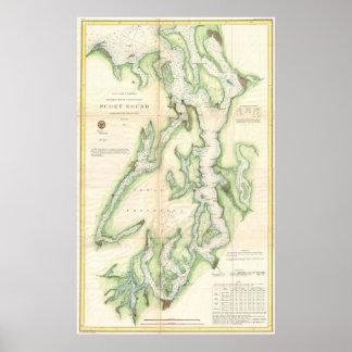 Mapa del vintage de Puget Sound (1867) Póster
