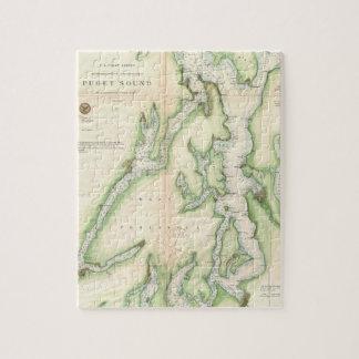 Mapa del vintage de Puget Sound (1867) Puzzles Con Fotos