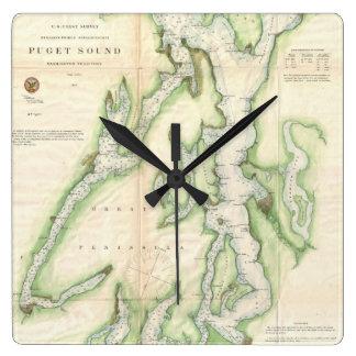 Mapa del vintage de Puget Sound (1867) Relojes De Pared