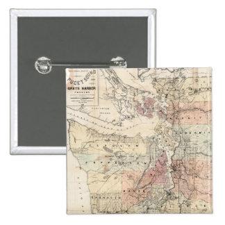 Mapa del vintage de Puget Sound (1891) Pin Cuadrada 5 Cm
