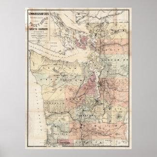 Mapa del vintage de Puget Sound (1891) Póster
