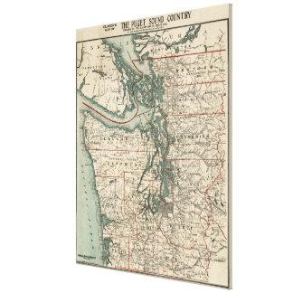 Mapa del vintage de Puget Sound (1910) Impresión En Lona Estirada