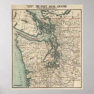 Mapa del vintage de Puget Sound (1910) Póster