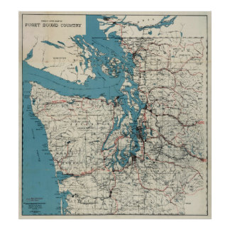 Mapa del vintage de Puget Sound (1919) Póster