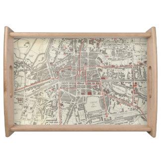 Mapa del vintage de Rennes Francia (1905) Bandejas