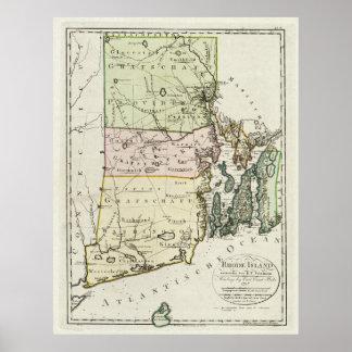 Mapa del vintage de Rhode Island (1797) Poster