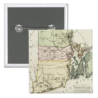 Mapa del vintage de Rhode Island (1797) Pin Cuadrado