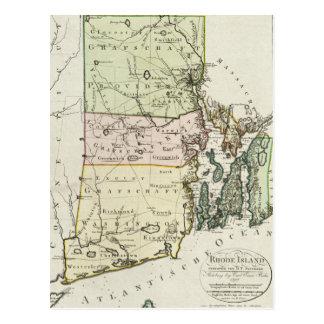 Mapa del vintage de Rhode Island (1797) Tarjeta Postal