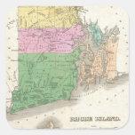 Mapa del vintage de Rhode Island (1827) Colcomania Cuadrada
