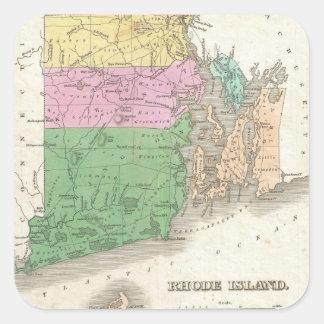 Mapa del vintage de Rhode Island (1827) Pegatina Cuadrada