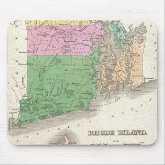 Mapa del vintage de Rhode Island (1827) Tapete De Ratones