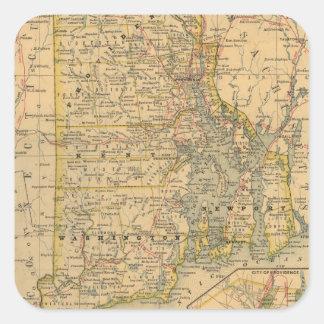 Mapa del vintage de Rhode Island (1875) Pegatina Cuadrada