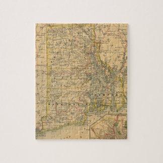 Mapa del vintage de Rhode Island (1875) Puzzles