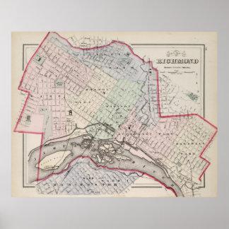 Mapa del vintage de Richmond Virginia (1884) Póster