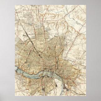 Mapa del vintage de Richmond Virginia (1934) Póster
