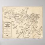 Mapa del vintage de Río de Janeiro el Brasil Póster