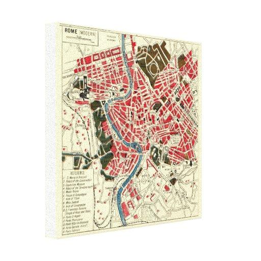 Mapa del vintage de Roma Impresión En Lienzo
