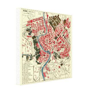 Mapa del vintage de Roma Impresión En Tela