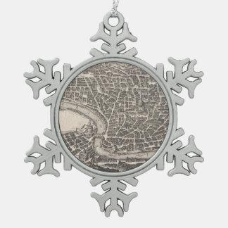 Mapa del vintage de Roma Italia (1652) Adorno De Peltre En Forma De Copo De Nieve