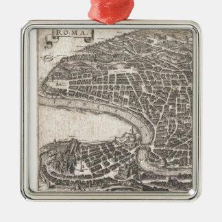 Mapa del vintage de Roma Italia (1652) Adorno Navideño Cuadrado De Metal
