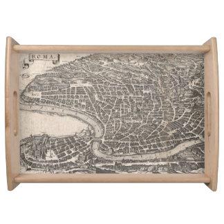 Mapa del vintage de Roma Italia (1652) Bandejas