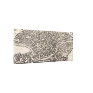 Mapa del vintage de Roma Italia (1652) Impresión En Lienzo