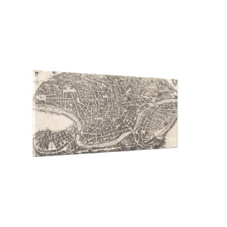 Mapa del vintage de Roma Italia (1652) Lona Estirada Galerias