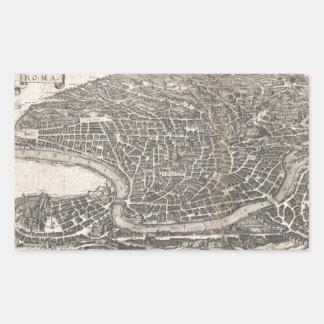 Mapa del vintage de Roma Italia (1652) Pegatina Rectangular