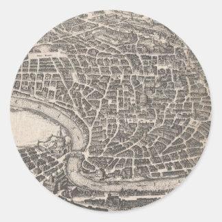 Mapa del vintage de Roma Italia (1652) Pegatina Redonda