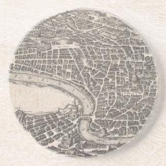 Mapa del vintage de Roma Italia (1652) Posavasos Para Bebidas