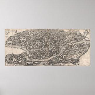 Mapa del vintage de Roma Italia (1652) Póster